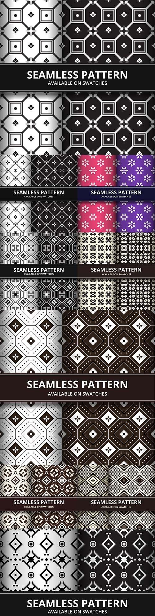Batik geometry seamless pattern in black and white