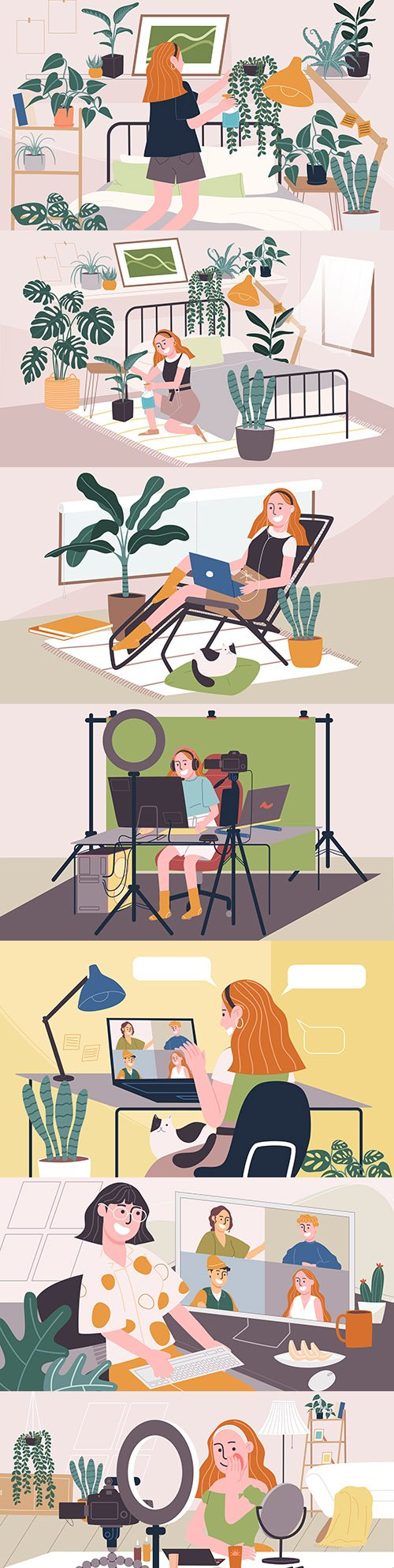 Young women home daily business flat illustration