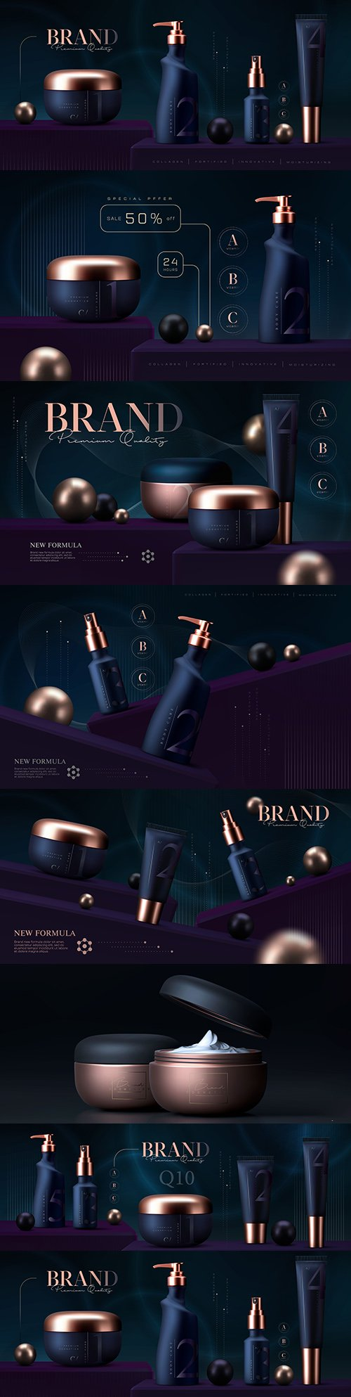 Cosmetic cream and skin care makeup luxury 3d premium template