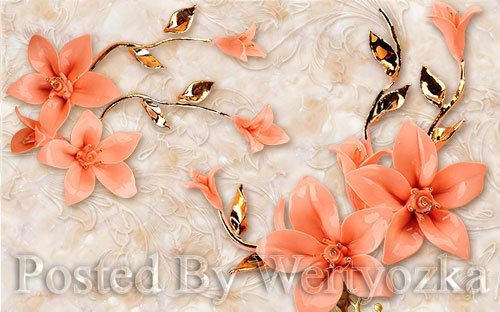 3D psd models modern stereo jewelry beads tv background wall