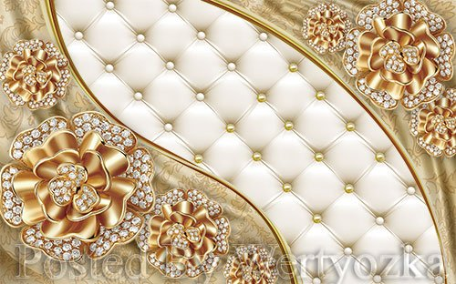 3D psd models three dimensional style golden diamond flower jewel wall