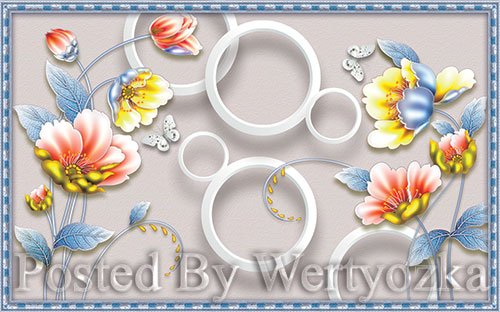 3D psd models new chinese style modern minimalist style three dimensional flower tv background wall