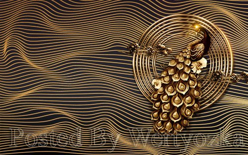 3D psd models modern black gold peacock gorgeous tv background wall
