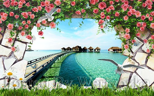 3D psd models beach scenery landscape wall outside the wall