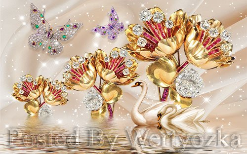 3D psd models beautiful swan flower jewelry wall