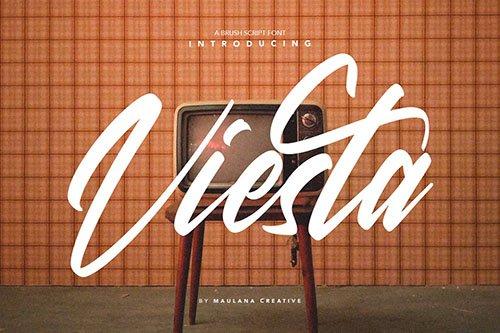 Viesta Brush Script Vintage Handmade Font Typeface