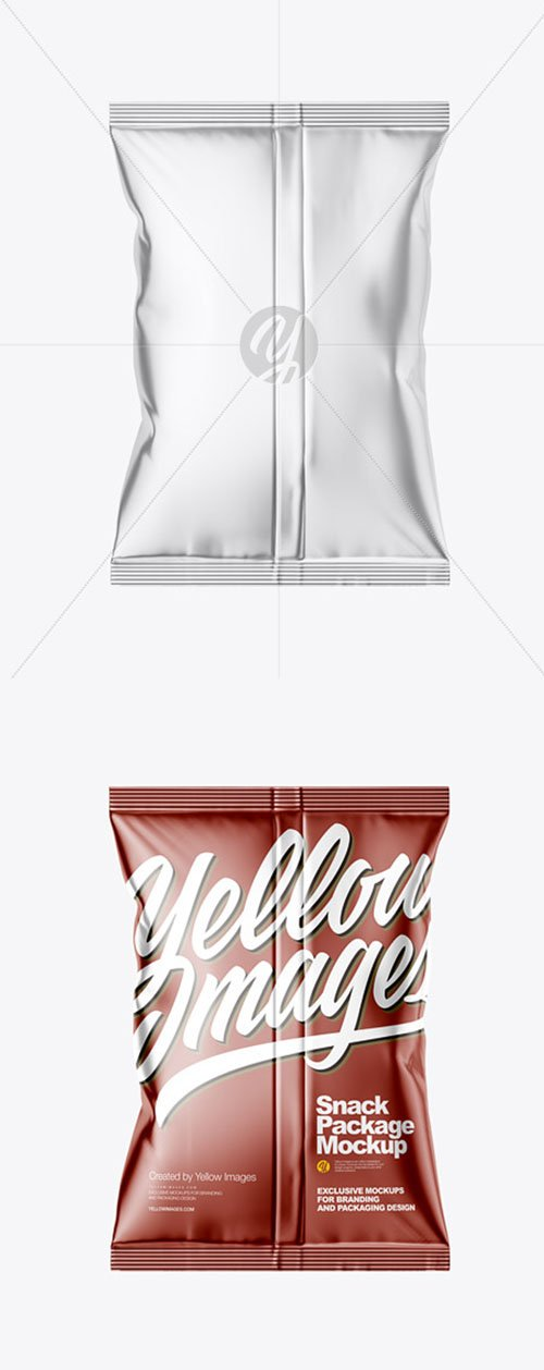 Metallic Snack Package Mockup - Back View 58909
