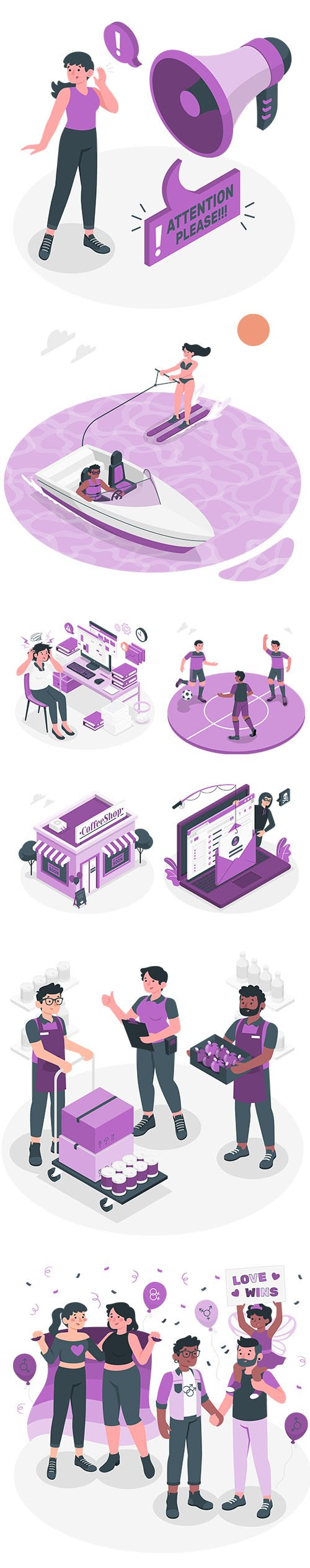 People Live Situations Set Purple Vector Collection Vol 4
