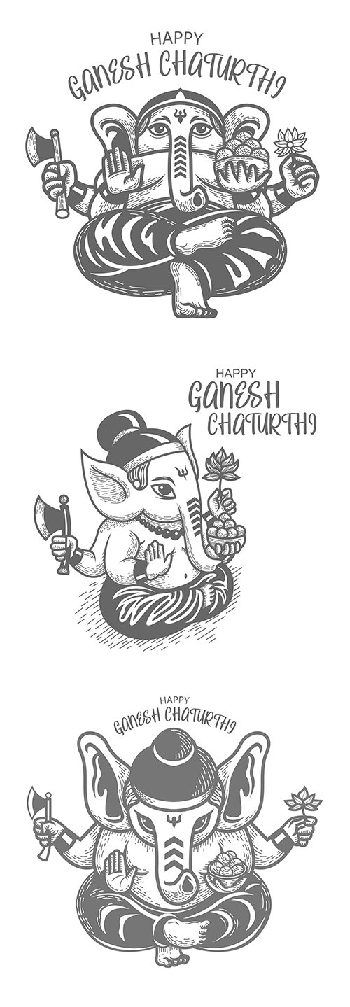 Ganesha Chaturthi black white hand drawing illustration