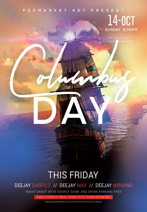 Columbus day event - Premium flyer psd template