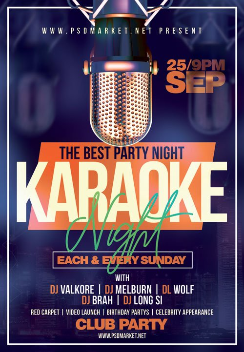 Karaoke_party - Premium flyer psd template