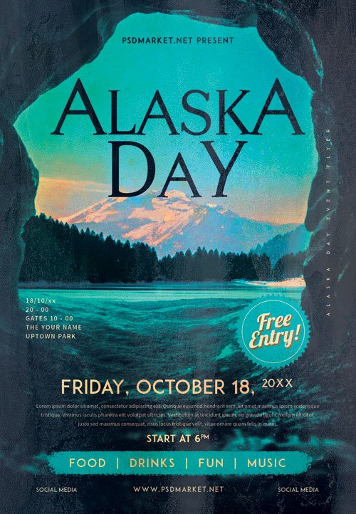 Alaska day - Premium flyer psd template