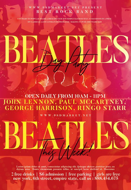 Beatles event party - Premium flyer psd template