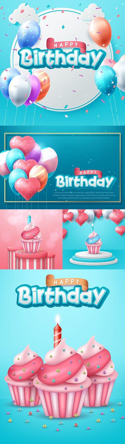Happy birthday invitation realistic balloons and cakes
