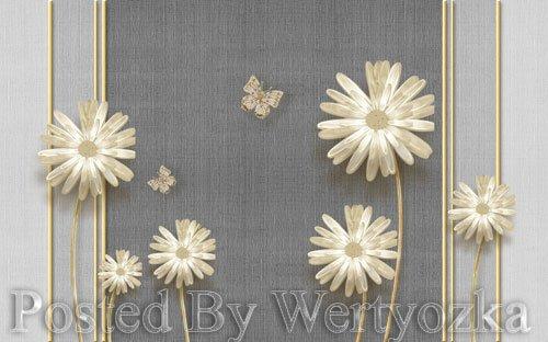 3D psd models modern elegant dandelion butterfly wrought iron-embossed soft bag wall