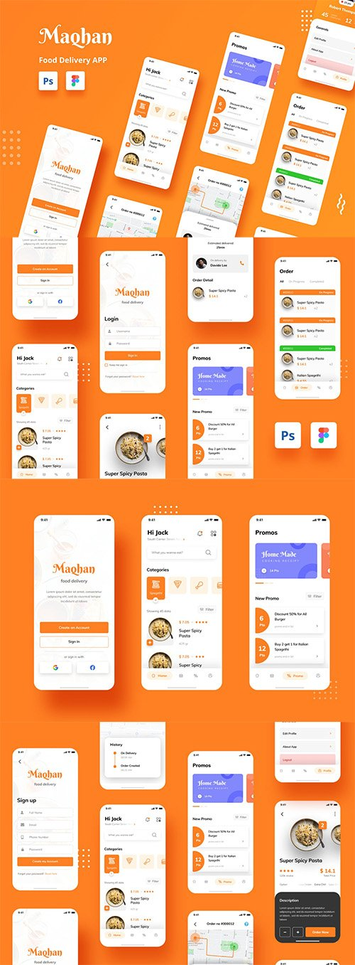Food Delivery iOS App UI PSD and Figma Template