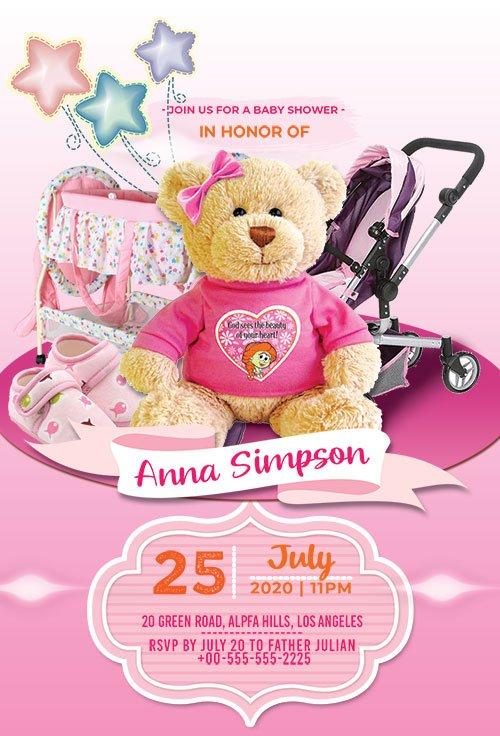 Baby Girl Shower Invitation - Premium flyer psd template