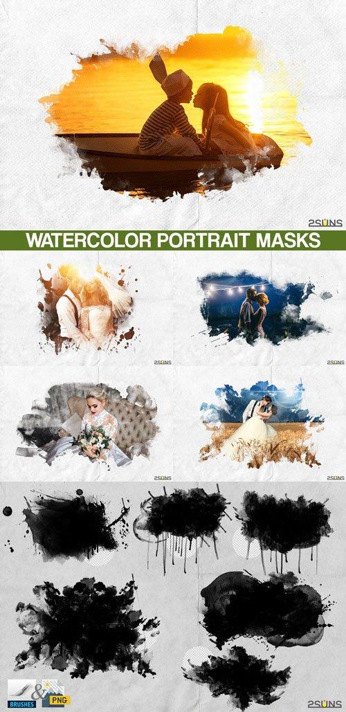 20 Watercolor Portrait Paint Masks, Photo Framse, Photoshop Overlays