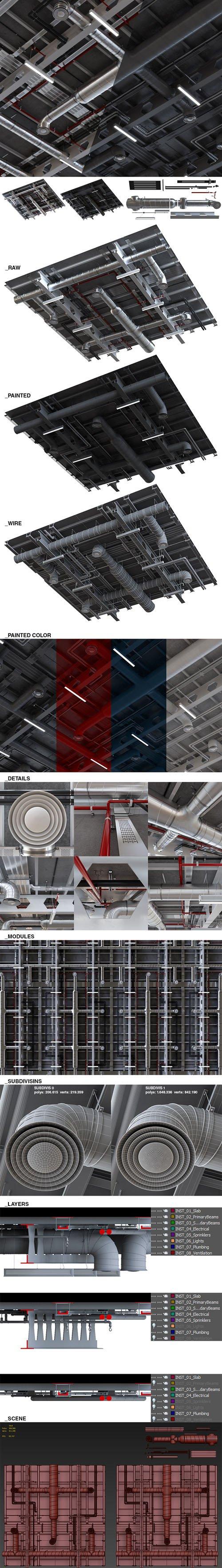 Tilable Installation Pack for Open Ceilings - 3D Models