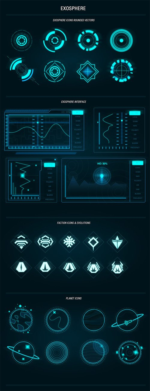 Exosphere PSD Template Sci-fi Shapes for UI Designers