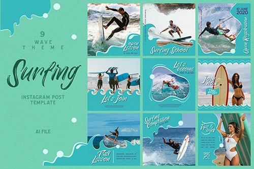 Wave Theme - Surfing Instagram Post