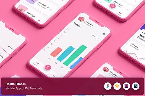 Health Fitness Mobile App UI Kit Template