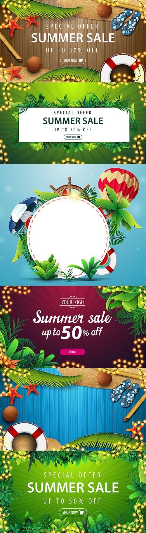 Special offer summer sale discount banner from tropical leaves