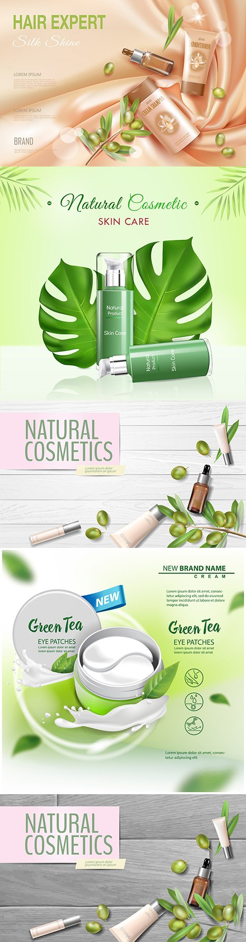 Natural cosmetics with olive oil realistic illustrations