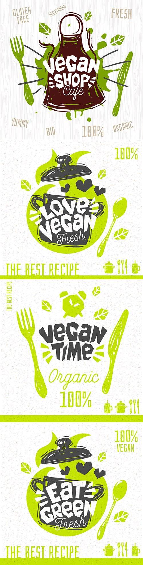 Vegan shop cafe logo fresh organic hand painted
