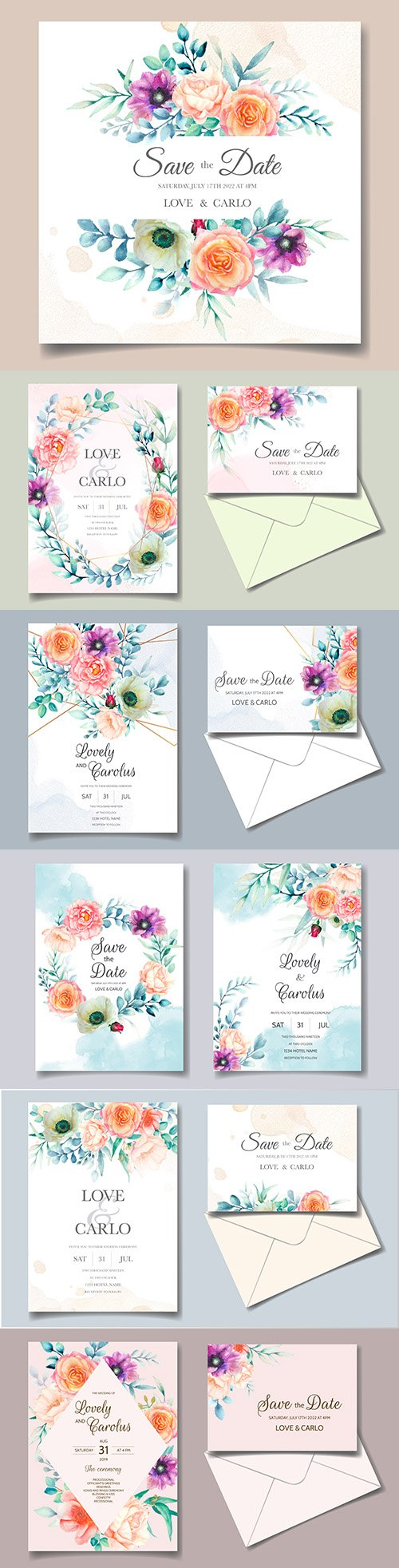 Wedding invitation template watercolor flower and green leaves 5