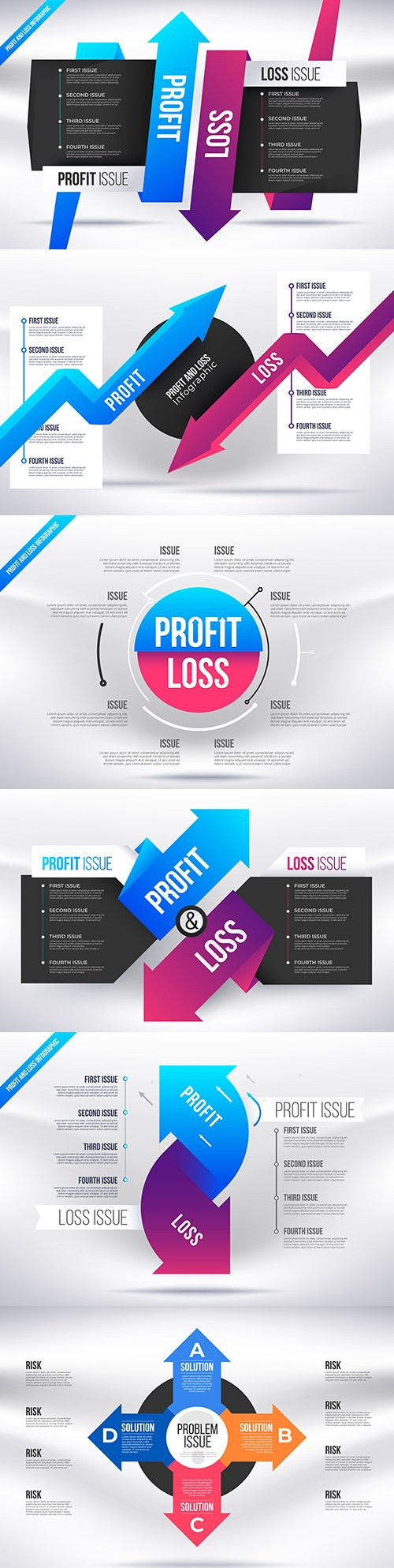 Profit and loss infographic simple business presentation