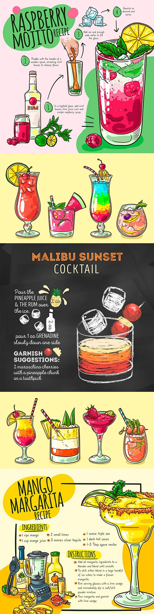 Summer tropical cocktails drawn recipe illustrations