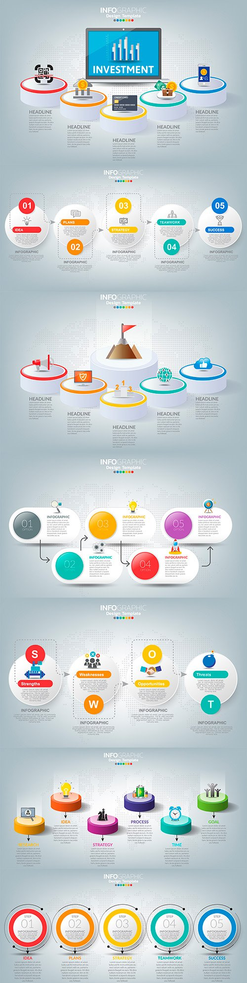 Business infographics options elements collection 154