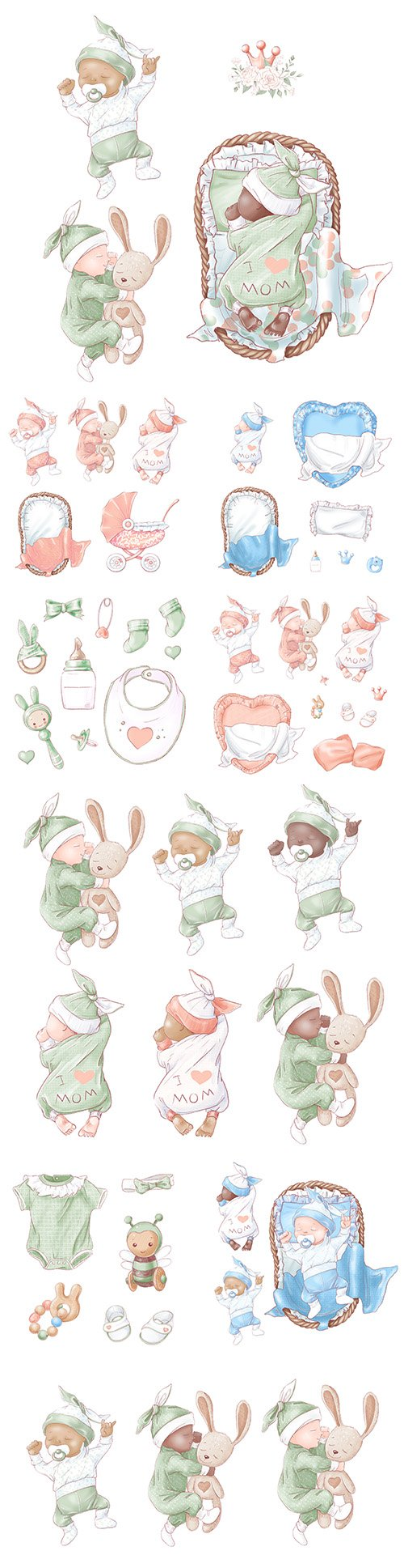 Set for newborn baby for birthday hand drawing