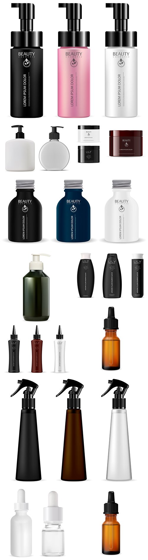 Beauty cosmetic vials and packaging for cosmetics