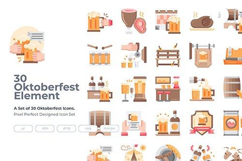 30 Oktoberfest Icons - Flat