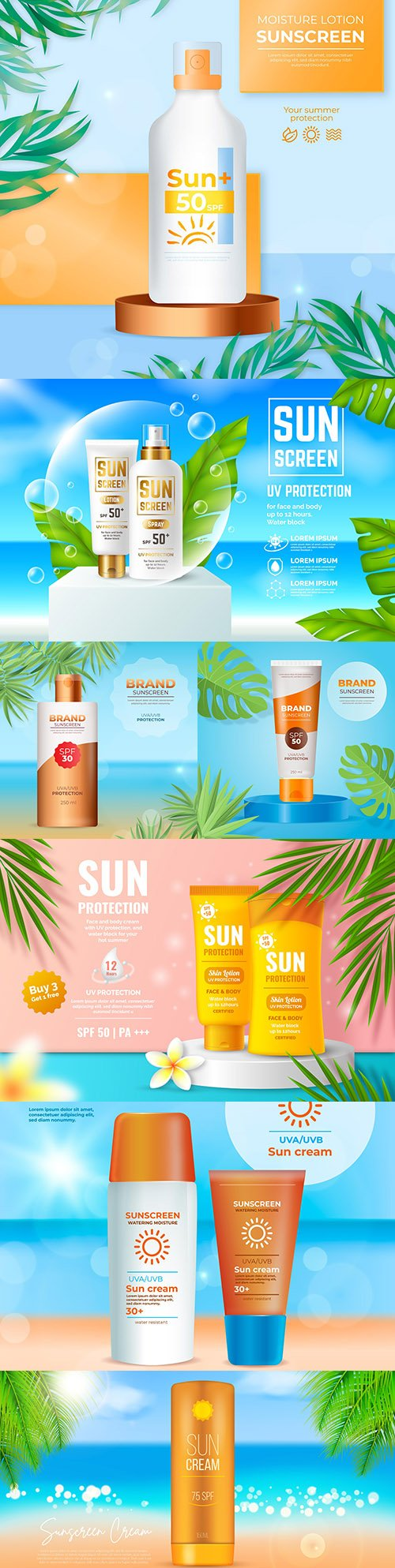 Realistic advertising of summer sunscreen and lotion