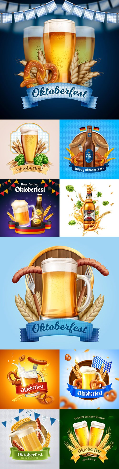 Realistic Oktoberfest banner with pint of beer illustration