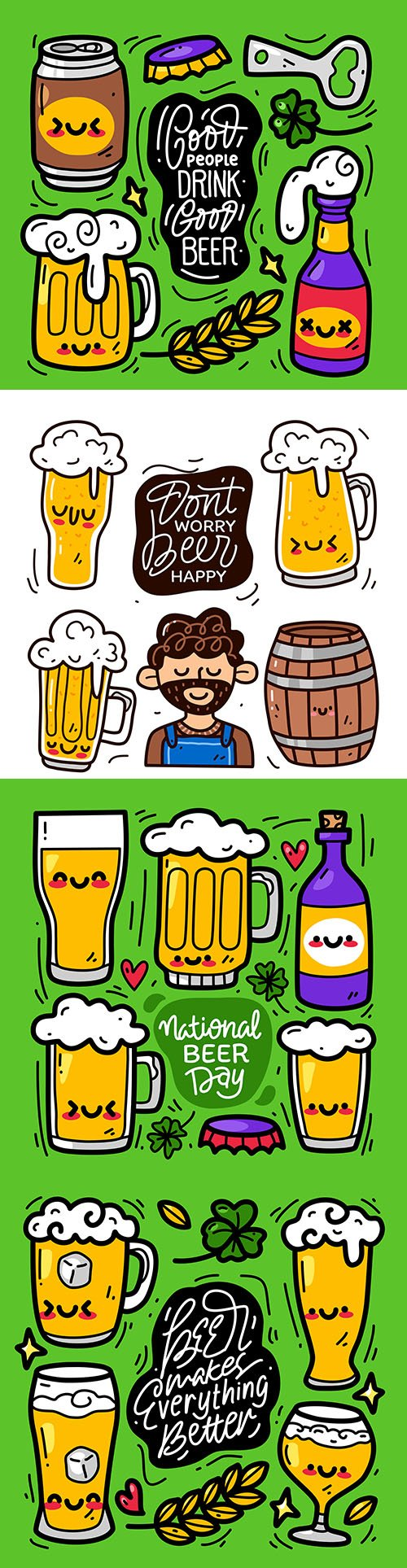 Doodle design hand drawing beer happy festival collection