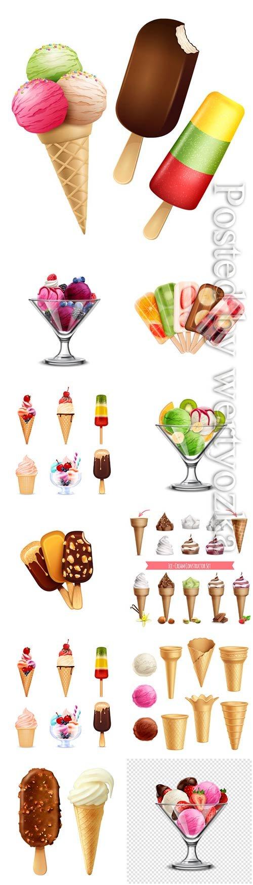 Ice cream platter, chocolate and vanilla ice cream with berries in vector