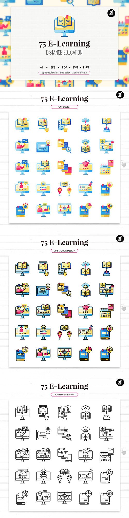75 E-Learning elements icon pack