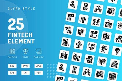 Fintech Element Glyph Icons