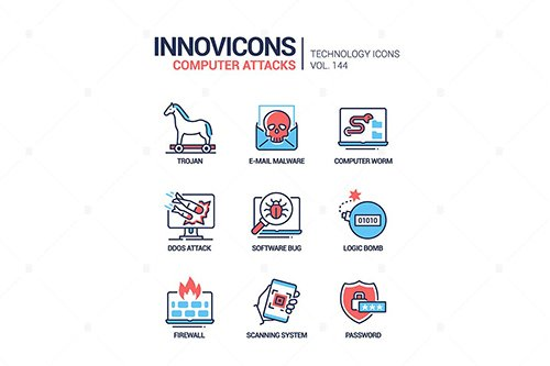 Computer attacks - line design style icons