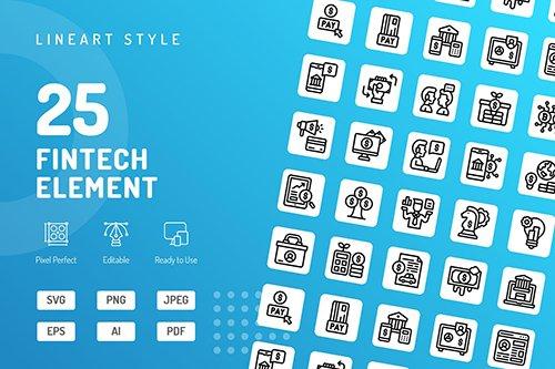 Fintech Element Line Icons