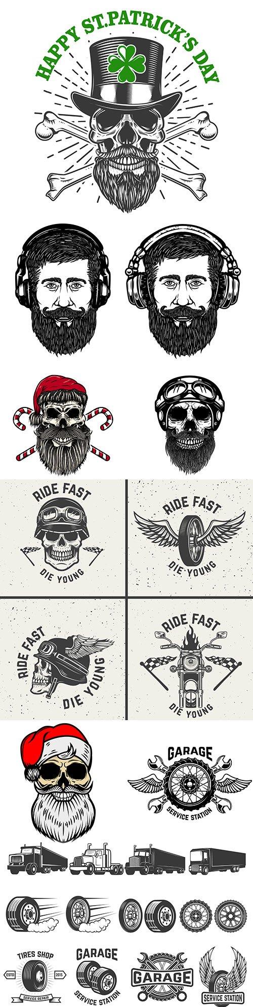 Vintage elements and emblem design illustration