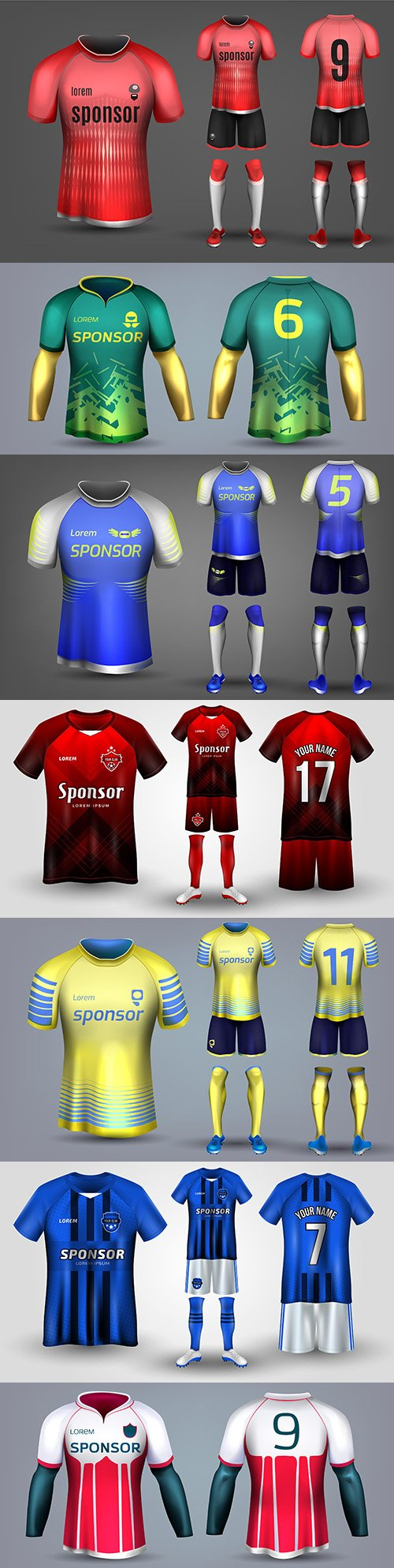 Colored T-shirt and football uniform for all body design