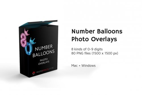 CreativeMarket - 80 Number Balloons Photo Overlays 5224487