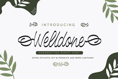 Welldone | Handwritten Script Font