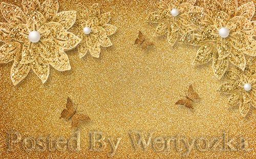 3D psd models luxury broken gold flower pearl butterfly background wall