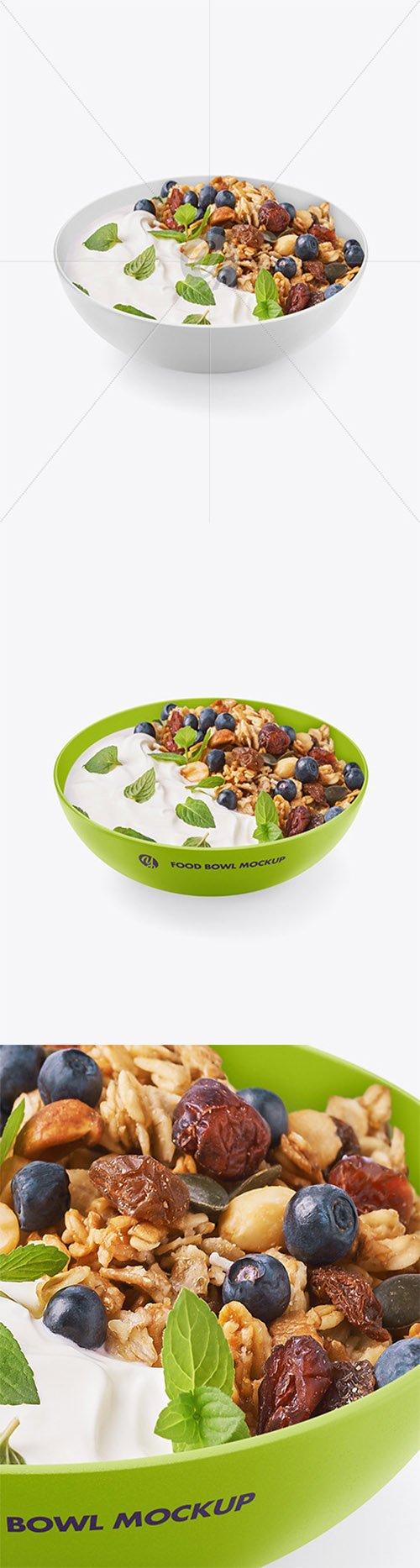 Bowl w/ Yogurt and Muesli Mockup 64512